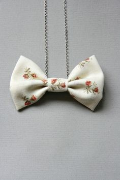 Bow Necklace White Calico Fabric by crookedsister on Etsy, $18.00