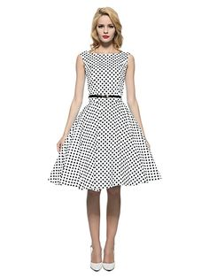 Maggie Tang Women's 1950s Vintage Rockabilly Dress Size M Color Black White at Amazon Women's Clothing store: