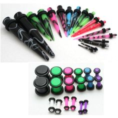 Ear Stretching Kit Color Marble Plugs and Color Tapers Gauges Plus Instructions Types Of Ear Piercings, Cool Piercings, Lip Piercings, Ear Jewelry, Body Jewelry, Jewellery, Tapers And Plugs, Marble Jewelry, Tunnels And Plugs