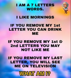 i am seven letters word . Mind Riddles, What Am I Riddles, Tricky Riddles, Riddles With Answers, Funny Good Morning Quotes, Funny Quotes, Funny Brain Teasers, Mind Puzzles, Gernal Knowledge