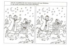 Spot the differences ! the two shepherds hasten to Bethlehem . there are 12 differences between these