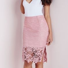 MISSGUIDED lace midi skirt Beautiful pastel pink color, mid length. Too big for me, never got the chance to wear this. NWT but accidentally got mixed up and washed w/ tag in my laundry pile when I came back from vacation. Missguided Skirts Midi