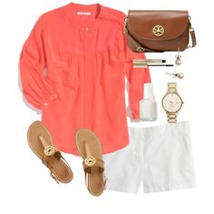 Coral & Tory by classically-preppy on Polyvore featuring Madewell, J.Crew, Tory Burch, Kate Spade, Elizabeth Arden and Essie
