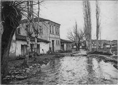 In the streets of Monastir (Bitola) (February 1917). Distributary channel of the Dragor at the exit of the city