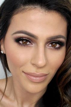 Flawless face makeup with browns