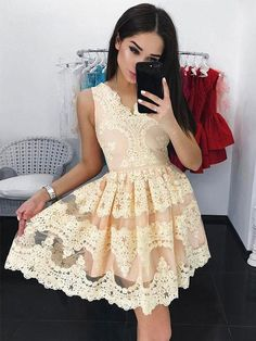Charming V neck Lace Short Homecoming Dresses,Sweet 16 Dresses,Short Party Dresses for Women sold by KProm. Shop more products from KProm on Storenvy, the home of independent small businesses all over the world. Vintage Homecoming Dresses, Homecoming Dresses Long, Dresses Short, Sweet 16 Dresses, Sweet Dress, Party Dresses For Women, Dresses For Teens, Formal Dresses, Graduation Dresses