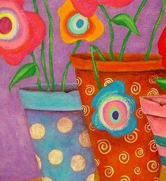 Modern Folk Art FLOWERS in Pots Original by johnblakefolkartist Folk Art Flowers, Abstract Flowers, Flower Art, John Blake, Bohemian Art, Art For Art Sake, Teaching Art, Art Lessons, Framed Artwork