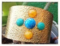 Brass bracelet with semi precious stones.  one size by Schoolery, $80.00
