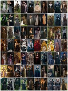 "madameoutlander: "" Outfits of Claire in the 18th Century  [My edit using pics from: x, x] """