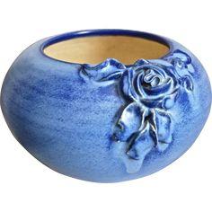 Fulper Pottery Bowl w/Rose, c. 1930 -- found at www.rubylane.com #vintagebeginshere