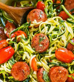One-Pot Smoked Sausage and Zucchini Noodles — A quick and hearty meal on it's own, ideal if you're on a low-carb or paleo diet. diet recipes One-Pot Smoked Sausage and Zucchini Noodles Sausage Recipes For Dinner, Smoked Sausage Recipes, Dieta Paleo, Paleo Diet, Ketogenic Diet, Paleo Recipes, Low Carb Recipes, Low Carb Zuchinni Recipes, Diabetic Dinner Recipes