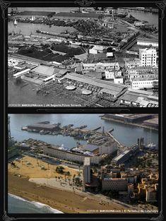 Vista del Puerto y la Barceloneta  Foto antigua: 1930 / Foto actual: 2007
