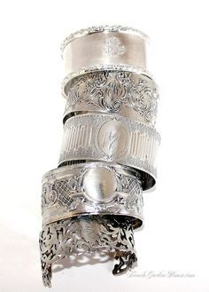 Antique French Sterling monogrammed cuffs
