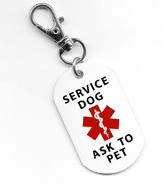 SERVICE DOG Ask To Pet Medical Alert Red Symbol 1 x 2 inch Aluminum Dog Tag - http://www.thepuppy.org/service-dog-ask-to-pet-medical-alert-red-symbol-1-x-2-inch-aluminum-dog-tag/