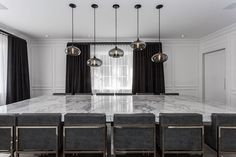 Black And White Interior, Residential Lighting, Modern Pendant Light, Dining Room Lighting, Dining Room Design, Hand Blown Glass, Lighting Design, Interior Decorating, House Design