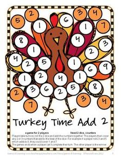 Cute math board game for Thanksgiving! Thanksgiving Math Games, Puzzles and Brain Teasers is a collection of Thanksgiving Math from Games 4 Learning. $