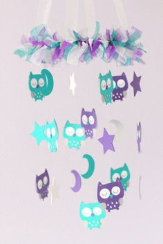Owl Baby Nursery Mobile in Purple, Teal, Gray & White- Baby Mobile, Baby Shower Gift Baby Owl Nursery, Baby Girl Nursery Themes, Nursery Twins, Baby Owls, Owl Baby Stuff, Elephant Nursery, Babies Stuff, Nursery Ideas, Room Ideas