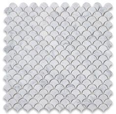 Carrara White Marble Mini Fish Scale Fan Shaped Mosaic Tile Honed - traditional - Tile - Stone Center Online