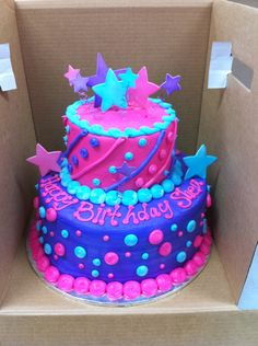 """2 Tier Stacked, 6"""" and 10"""" Layers, All Buttercream except the Stars which are Gumpaste on Wire. This was for an 8 year old that didn't want a """"baby"""" cake this year and wanted something a little more grown up! The colors are a little different than in the photo, which makes them look really neon... Thanks for looking!"""