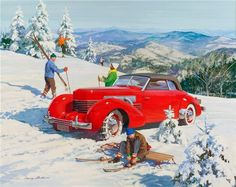 1936-37 Cord 810 or 812 convertible - Illustration: Harry Anderson