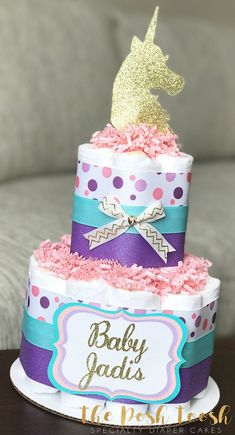 Unicorn Diaper Cake Baby Shower Centerpiece Decor Gift Pink