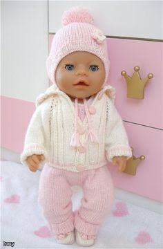 Knitting Dolls Clothes, Crochet Baby Clothes, Knitted Dolls, Doll Clothes Patterns, Baby Born Kleidung, Tiny Tears Doll, Baby Dolls For Kids, Baby Born Clothes, Child Doll