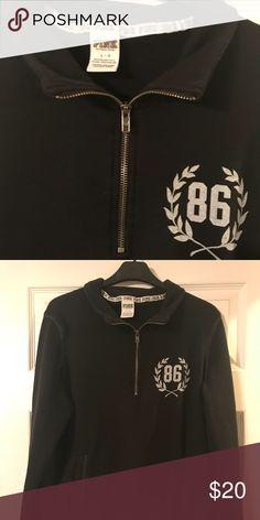 2ac6ccec187 PINK black zipper pullover Black VS PINK zipper pullover PINK Victoria s  Secret Tops Sweatshirts   Hoodies
