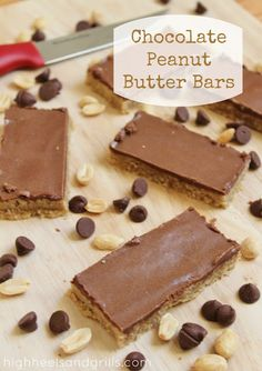 Chocolate Peanut Butter Bars. These things take like a half an hour to make and they're delish! http://www.highheelsandgrills.com/2013/01/chocolate-peanut-butter-bars.html