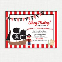Pirate Birthday Invitation Pirate Birthday Party by MsfitDesigns, $20.00
