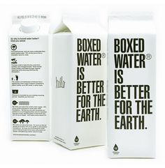 Boxed water. Or useable glass bottles. Either way it's much better than plastic, which leaches toxins into the water.