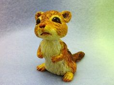 A little chipmunk animal polymer clay sculpture by trolltracks on Etsy