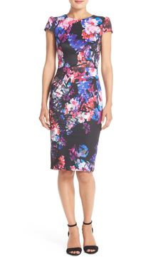 Adoring the floral, watercolor print that covers this shift dress from Betsey Johnson.