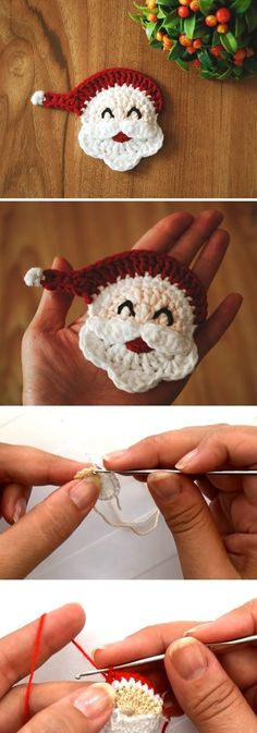 Crochet Santa Applique About a week ago we shared with you a great tutorial for the beautiful Santa applique. We have also shared a link where you could buy the product itself. A lot of people reached out to us and asked if we could make a similar article Crochet Christmas Decorations, Crochet Ornaments, Christmas Crochet Patterns, Holiday Crochet, Crochet Decoration, Crochet Snowflakes, Crochet Diy, Crochet Santa, Crochet Gifts