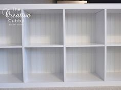 IKEA Expedit Makeover - The Creative Cubby Adding Beadboard Backing to Expedit.
