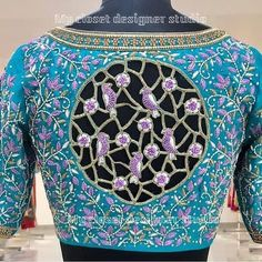 Photo by trendy blause idea's on April Wedding Saree Blouse Designs, Silk Saree Blouse Designs, Fancy Blouse Designs, Silk Sarees, Cut Work Blouse, Latest Embroidery Designs, Designer Blouse Patterns, Maggam Works, Hand Embroidery