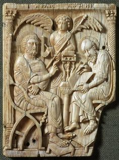 Ivories of the So-Called Grado Chair: Saint Peter Dictating the Gospel to Saint Mark, 440-670, Made in Eastern Mediterranean or Egypt, 13.5 x 10 cm | Victoria and Albert Museum, London