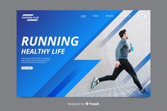 Sport landing page with photo Free Vector Web Design, Graphic Design Tutorials, Flat Design, Social Media Template, Social Media Design, Software, Company Brochure, Business Flyer Templates, Cards
