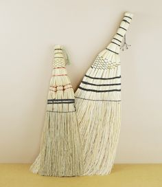 Hand brooms nos. 7 & 8 - Gunma & Tsuga. Two hand brooms from Japan made of bound broom corn, a type of sorghum (also called rice straw)