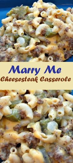 hamburger meat recipes Marry Me Cheesesteak Casserole - BeritaPro Beef Dishes, Pasta Dishes, Food Dishes, Main Dishes, Meat Recipes, Cooking Recipes, Healthy Recipes, Entree Recipes, Winged Liner