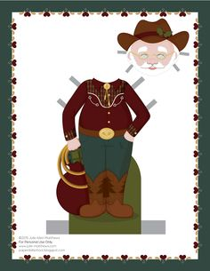 Paper dolls by Julie Allen Matthews.  A cowboy Santa paper doll outfit today!