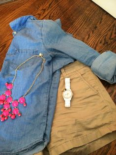 denim shirt, khaki chino shorts, statement necklace