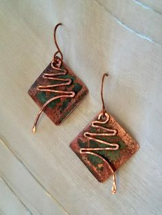 Hammered upcycled copper square diamond shaped Christmas tree