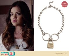 Aria's padlock necklace on Pretty Little Liars.  Outfit Details: http://wornontv.net/34030/ #PLL