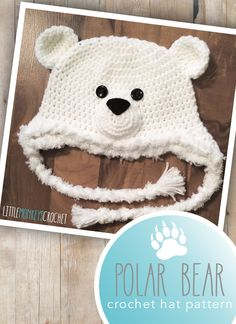 Polar Bear Hat Crochet Pattern   by Little Monkeys Crochet   Crochet this adorable 6-12m polar bear crochet hat pattern to complete your winter wardrobe!
