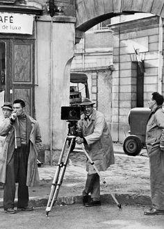 Jacques Tati on the set of Mon Oncle.