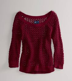 I love the open stitches of this American Eagle sweater and the maroon color is gorgeous!