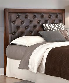 Home Styles Rustic Cherry Leather Button-Tufted Camelback Headboard Brown Leather Bed, Leather Bed Frame, Leather Headboard, Bedroom Images, Bedroom Themes, Bedrooms, Bedroom Ideas, Brown Headboard, Mirror Headboard