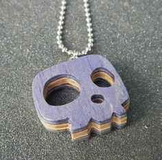 Recycled Skateboard Skull Pendant Necklace by COOBoriginals