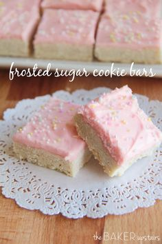 Frosted sugar cookie bars from The Baker Upstairs. These bars are so easy to make and have the most delicious flavor! www.thebakerupstairs.com