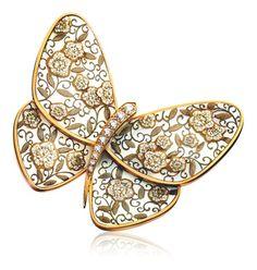 Van Cleef & Arpels, Hana Karakusa (花唐草) clip, Lacquered Butterflies collection